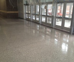 School concrete floors, exposed aggregate polished concrete,